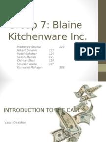 blaine kitchenware inc capital structure case solution