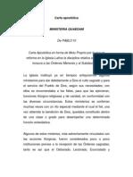 Carta apostólica Motu proprio ministeria quaedam