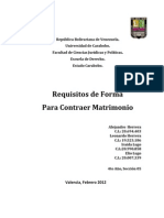 Requisitos de Forma Para Contraer Matrimonio