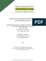 DIMINISHING THE LEGAL IMPACT OF NEGATIVE SOCIAL ATTITUDES TOWARD ACQUAINTANCE RAPE VICTIMS--MJ Anderson