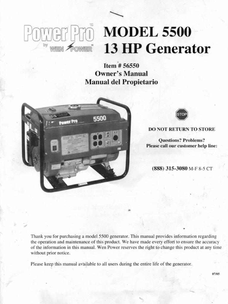 power pro model 5500 13hp generator owners manual rh scribd com hp 5500 user manual hp 5500 manual pdf