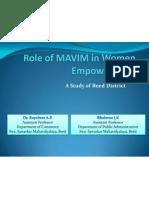 Role of MAVIM in Women Empowerment