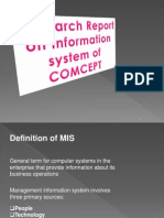 Research report  ON INFORMATION SYSTEM