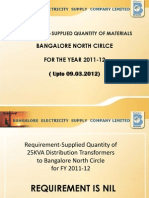 Requirement-Supply of Line Materials to Bangalore NORTH Circle for FY 2011-12 till 09.03.2012