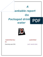 Bankable Report on Packaged Drinking Water