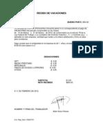 RECIBO DE VACACIONES