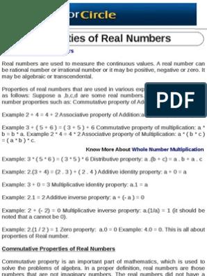 Properties of Real Numbers | Numbers | Real Number