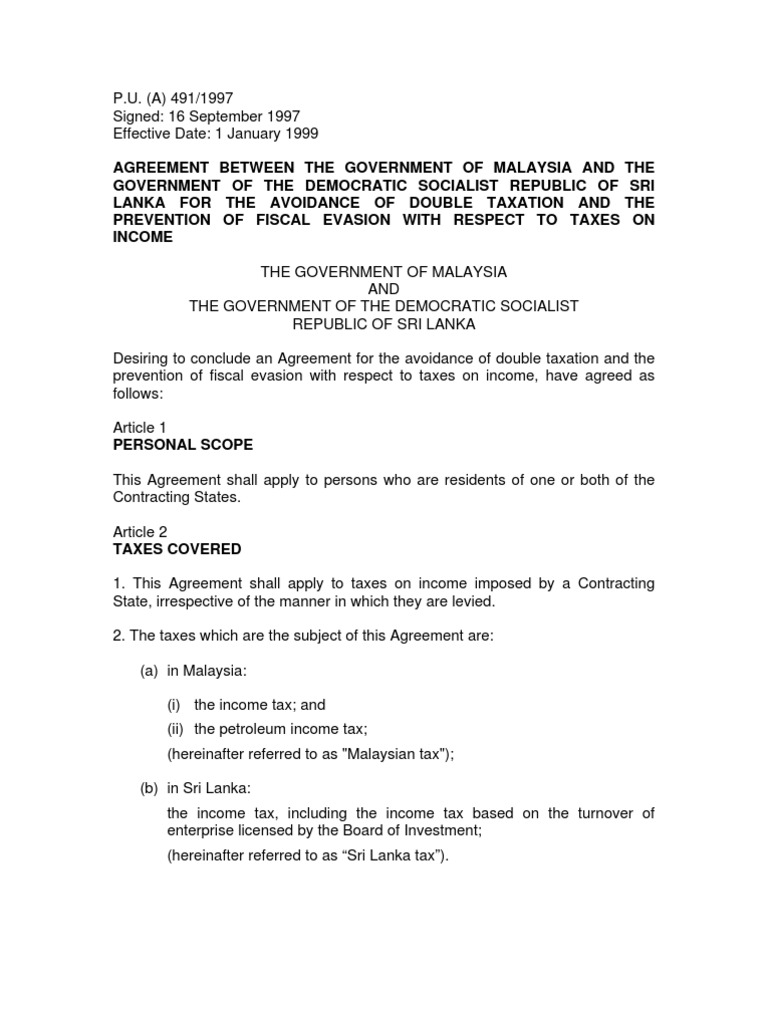 Dtc Agreement Between Sri Lanka And Malaysia Permanent