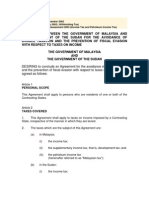 DTC agreement between Sudan and Malaysia