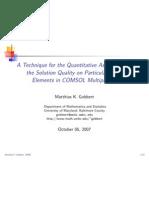 Technique for Quantitative Assessment of Solution Quality on FEM