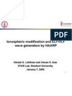 Ionospheric modification and ELF/VLF wave generation by HAARP