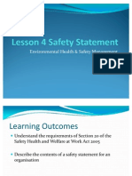 Lesson 4 Intro to Safety Statement