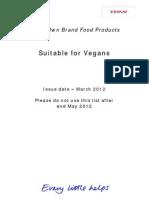 Vegan List March 2012
