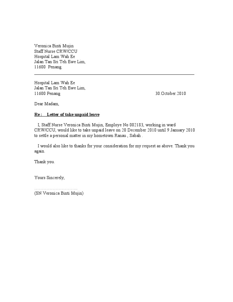leave of absence letter unpaid leave letter 22734