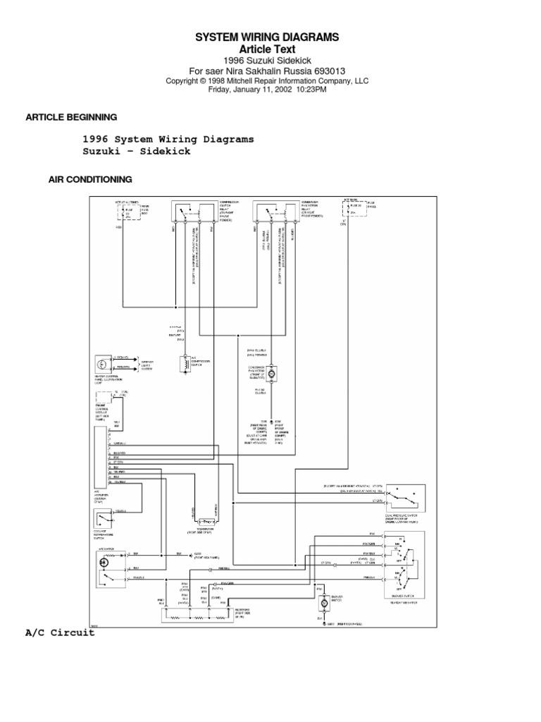 1996 Suzuki Sidekick Wiring Diagram Free Picture - Electrical ...
