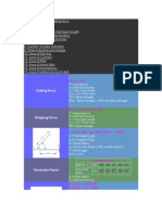 Tool Design Useful Formulas
