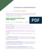 RÚBRICAS DE EVALUACIÓN DE LA EXPRESIÓN ESCRITA Y ORAL