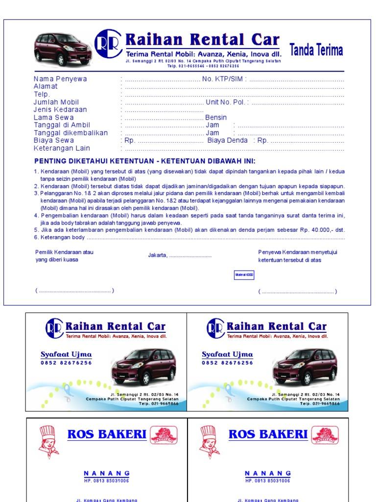Contoh Nota Rental Mobil