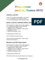 Programme Championnat National de France 2012