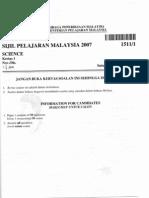 Spm 1511 2007 Science k1