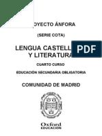 Programación Anfora Cota Lengua y Literatura 4 ESO Comunidad de Madrid