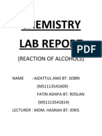 Chemistry Lab Report - Reaction of Alcohol