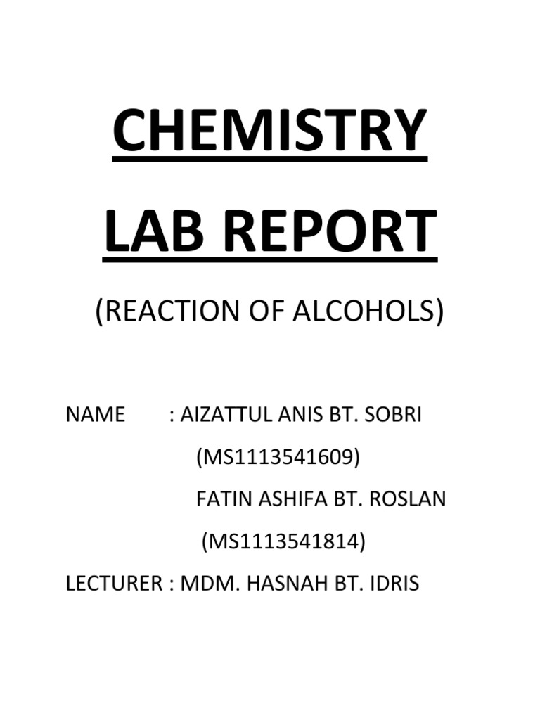 organic chemistry lab report 1 Writing lab reports/organic chemistry lab/dr gupta/ page 1 of 5 writing a good lab report - organic chemistry i lab report is an integral part of a chemistry lab.