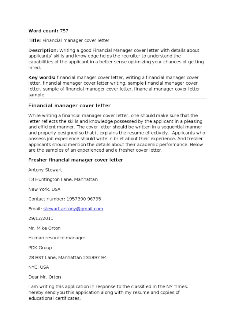 financial manager cover letter corrected rsum master of business administration