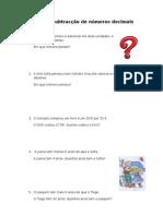 Ficha de Trabalho_ Adição e Subtracção de números Decimais