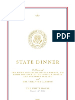 2012 State Dinner Menu With the Obama's and David Cameron.