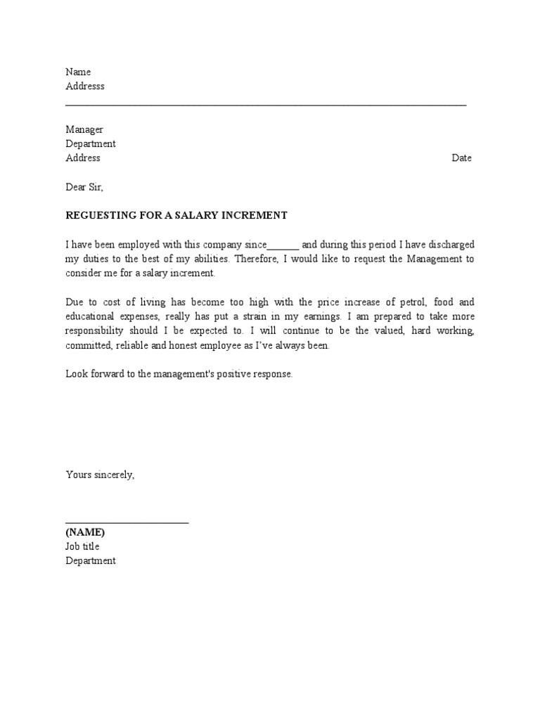 pay raise sample letter