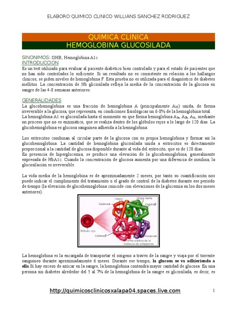 promedio de glucosa segun hemoglobina glicosilada