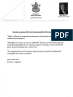 B.C. Liberal MLA Harry Bloy's resignation letter
