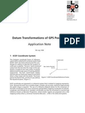 Datum Transformations of GPS Positions | Latitude