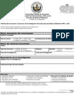"Concurso de investigación ""Rosario Alonzo de León"" Planilla"