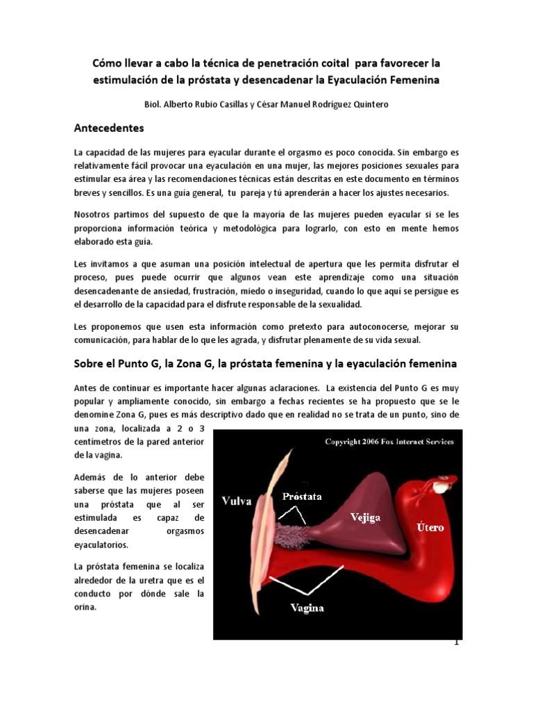 estimulación de la próstata femenina