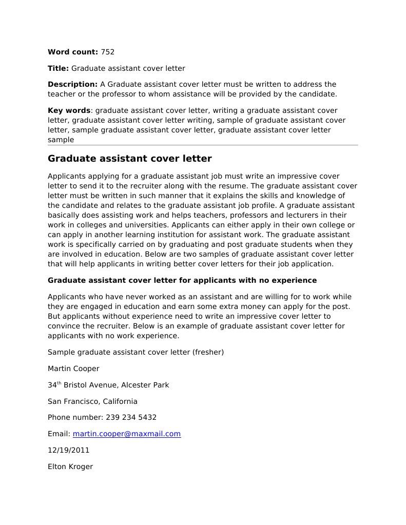 Graduate Assistant Cover Letter | Résumé | Professor