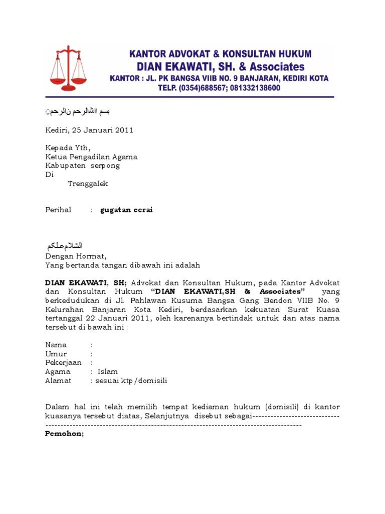 Contoh Surat Gugatan Cerai Di Pengadilan Negeri - Contoh ...