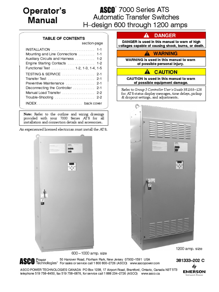 asco 7000 series operator manual-381333_202c | switch | electrical wiring