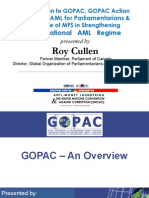 Introduction to GOPAC, GOPAC Action Guide on AML for Parliamentarians and the Role of MPS in Strengthening the National AML Regime by Roy Cullen (March 16, 2012)