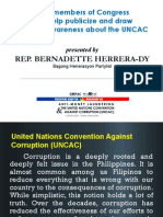 How Members of Congress Can Help Publicize and Draw Popular Awareness about the UNCAC by Representative Bernadette Herrera-Dy (March 16, 2012)