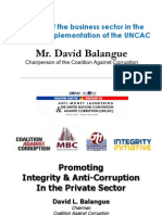The Role of the Business Sector in the Effective Implementation of the UNCAC by Mr. David Balangue (March 16, 2012)