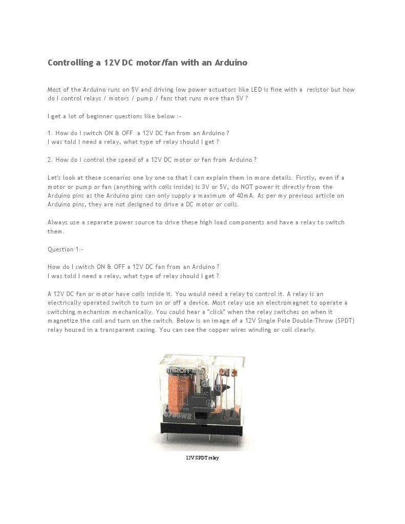 Avr Based 12v Dc Motor Control Relay Switch Arduino