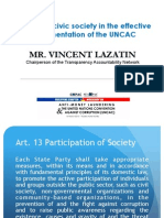 The Role of Civil Society in the Implementation of the UNCAC by Mr. Vincent Lazatin (March 16, 2012)