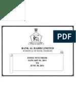 Bank AL Habib LTD Schedule of Bank Charges