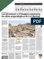 Las invasiones y el huaqueo amenazan los sitios arqueológicos de La Libertad