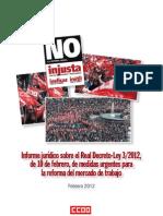 12-02 Informe Juridico Sober El RD 3-2012 de Medidas Urgentes Para La Reforma Del Mercado Laboral