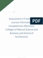 VI Assessment in Freshmen Courses Info Competencies Libraries