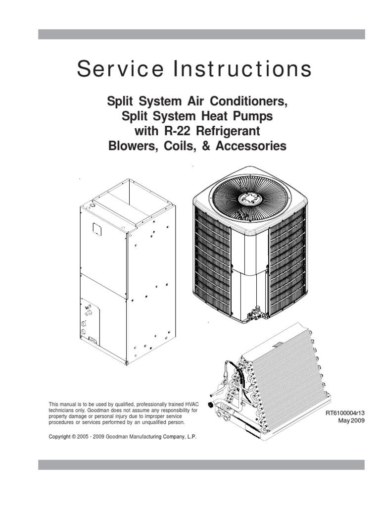 Goodman - Service Instructions RT6100004r13 May 2009   Thermostat   Heat  Pump
