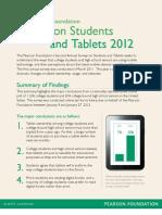 Pearson Foundation - Tablet Survey Summary 2012